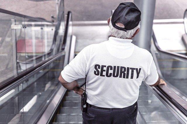 security officer on elevator
